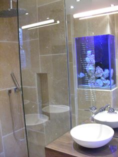 Luxury Shower Room With Stunning Aquarium Aquarium Set, Home Aquarium, All White Room, White Rooms, Amazing Aquariums, Luxury Shower, Tanked Aquariums, Fish Tanks, Minimalist