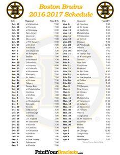 Printable 2016-2017 Boston Bruins Hockey Schedule