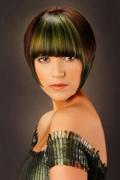 Short Straight Dark Brunette Bob Haircut with Blunt Cut Bangs and Green Highlights Unique Hairstyles, Formal Hairstyles, Bob Hairstyles, Straight Hairstyles, Hair Styles 2014, Short Hair Styles, Brunette Bob Haircut, Creative Hair Color, How To Cut Bangs
