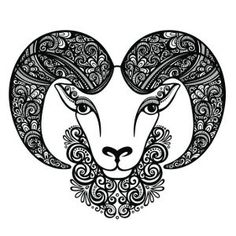 Decorative floral-patterned ram tattoo design
