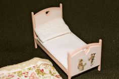 Half scale inch dollhouse handmade wooden bed by Londondollshouses
