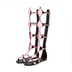 YDN Women Sexy Knee High Gladiator Flat Sandals Open Toe Strappy Shoes Zips Pink 12. Knee high shaft length aprrox.45 cm. Full-length back zipper closure for easy on/off. Square design combine with slim side straps surrounding leg from footbed to knee. These Gladiator knee-high sandals come in a Range Of Colours, fashion forward style. Finished with a slightly padded and low heel, driving fatigue out of your day working. All YDN shoes are strictly handcrafted, we can offer customization...