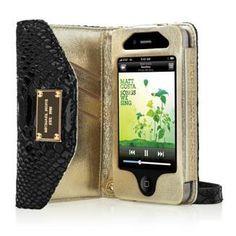Michael Kors iPhone Wristlet Black Patent Python Embossed