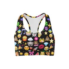 Awesome! Girls super fun emoji printed sports bra is perfect for your workouts or for hanging out. Pair it with your matching black Emoji printed leggings for a super show stopping look! - 90% Poly 10