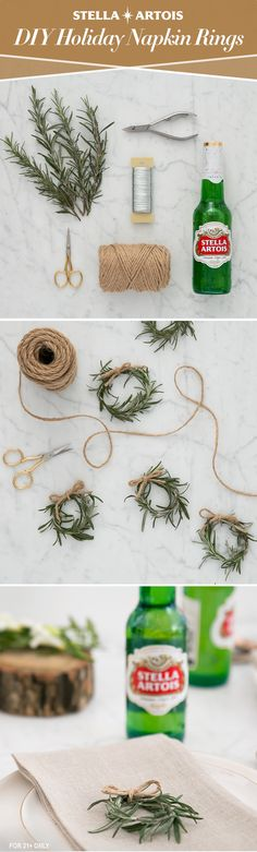 Before you host for the holidays, set the table for an unforgettable evening with Stella Artois and these simple rosemary napkin wreaths. Tie fresh rosemary together with twine or butcher's string to create a wreath that's worthy of your door and pairs perfectly with your place setting.