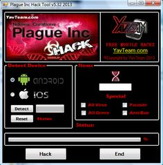 Plague Inc Cheats Tool v5.32 2013 for Android/iOS. Working without problems. Download here! The Best Cheats only from YavTeam. http://www.yavteam.com/plague-inc-cheats-tool-v5-32-2013/