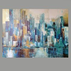 Hand Painted Modern Large Oil European Style Building Wall Art for Living Room Home Decor Abstract Painting on Canvas