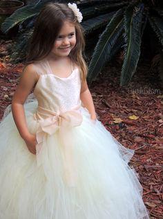 Champagne Flower Girl Dress Flower girl tutu dress by Gurliglam