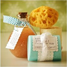 DIY gifts: soap, bath salts, and a lufa. @Chelsea Rose Kerr, let's do this for the spa baby shower!