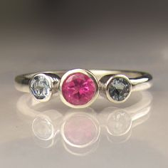 Three Stone Pink Tourmaline and  Aquamarine Gemstone Ring in Sterling Silver