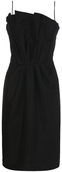 Giorgio Armani Bustier Dress in Black - Lyst