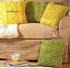 Вязание подушки. Схемы вязания спицами