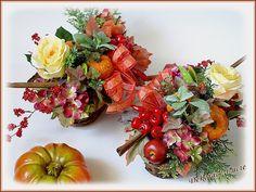 """Dekorace """"podzimní ošatka s růží"""""""