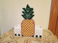 Country Fest Napkin Holder with Pineapple Design by CraftsforSalebyJune on Etsy Tissue Box Covers, Tissue Boxes, Pineapple Design, Plastic Canvas Crafts, Cleaning Hacks, Diy And Crafts, Napkins, Cross Stitch, Country