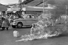 "Malcolm Browne won a Pulitzer Prize for this photo, 1963. ""The Burning Monk"". This was a planned protest in Vietnam by the monks against Buddhist persecution."