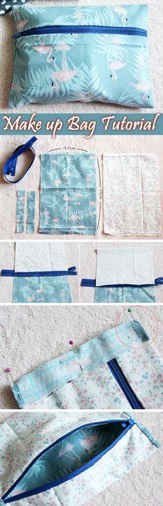 Lined Zip Pouch Tutorial - Make up bag / Headphone holder / Pencil case http://www.handmadiya.com/2016/04/lined-zippered-pouch-make-up-bag.html