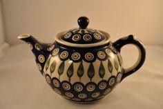 Polish Ceramic Teapot  Boleslawiec Pottery Hand by Itiswhatitwas, $29.00