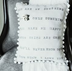 Don't Disturb This Groove: Anthropologie Inspired: You Are My Sunshine Pillow