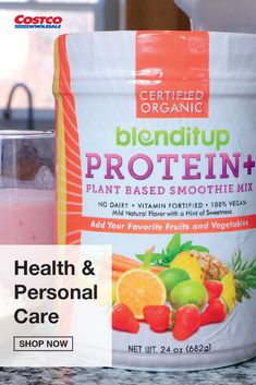 BlenditUp Protein+ Smoothie Mix is a nutrient rich, no sugar added, clean combination of whole plant protein and gluten-free ancient grains. The non-GMO and organic ingredients fortified with calcium and vitamins are used to power your vegetarian lifestyle. The mild blend is an excellent source of protein that enhances any food, from soups and smoothies to pancakes and muffins. Shop for more protein products at Costco.com. Smoothie Mix, Smoothies, Vegetarian Lifestyle, Plant Protein, Protein Sources, Natural Flavors, Fruits And Vegetables, Vitamins, Healthy Eating