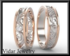 Hand Crafted His And Hers Wedding Bands,Matching Wedding Bands Set,Diamond Wedding Bands Set.Unique,Luxury,14k Gold,Engagement Band,Custom,Two Tone by Vidar Jewelry | CustomMade.com