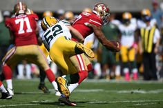 Inside linebacker Clay Matthews #52 of the Green Bay Packers hits quarterback Colin Kaepernick #7 of the San Francisco 49ers during their NFL game at Levi's Stadium on October 4, 2015 in Santa Clara, California. (Oct. 3, 2015 - Source: Thearon W. Henderson/Getty Images North America)