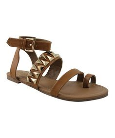 Look what I found on #zulily! Cognac Studded Daron Ankle-Strap Sandal #zulilyfinds