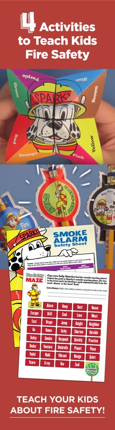 Teach your students about fire safety with these fun, free ideas: A fortune teller, fun pencil toppers, a fire safety word maze and a smoke alarm safety sheet! Fire Safety For Kids, Fire Safety Tips, Fire Prevention Week, Pencil Toppers, Smoke Alarms, Fortune Teller, Save Life, Classroom Activities, Maze