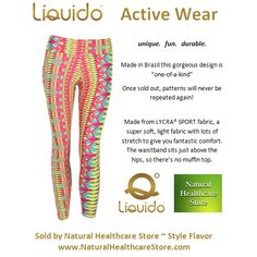 Liquido Activewear. Flavor Patterned Hot Pants. unique. fun. durable. one-of-a-kind. limited edition prints. http://www.naturalhealthcarestore.com/