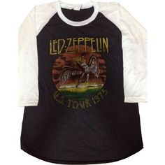 led zeppelin retro us tour 1975 jersey 3/4 t-shirt women size s ($16) ❤ liked on Polyvore featuring tops, t-shirts, shirts, retro tees, jersey tee, black jersey top, jersey t shirts and retro tops