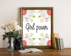 Girl Power, Feminist Decor, Dorm Wall Art, Office Decor For Women, Motivational Print, Pink Office Supplies, Digital Print Download, Poster by boutiqueprintart on Etsy
