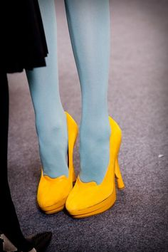 Blue tights and yellow heels