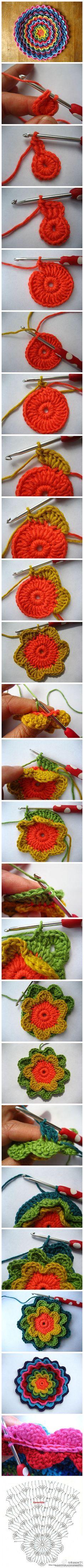 手工DIY 毛线 艺术设计  彩虹钩针大花图解拼图来了