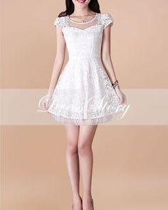 White Lace Dress  Little White Dress  Short Sleeve by DressStory, $74.99