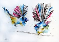 This piece was done on commission, it was requested that the painting was done in a similar style to that of my 'Elephant Splash' art work. The colours encourage the playful nature of these little birds and helps us to portray them in a new light. Watercolor Elephant Tattoos, Watercolor Bird, Watercolor Animals, Watercolor Tattoo, Watercolor Paintings, Tattoo Feminin, Colorful Bird Tattoos, New Zealand Art, Kiwiana
