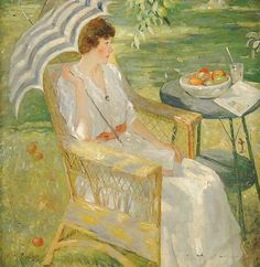 KARL ALBERT BUEHR, German-born American Painter, 1866-1952. Buehr was an expressive colorist. In 1909, he began spending summers near Monet in Giverny, and his work became decidedly characteristic of that plein-air style but he began focusing on female subjects posed out-of-doors.