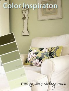 & Charming, Green & White Pale green walls are a classic choice for a cottage room. They can be nostalgic, edgy or everything in between. Paired with white, as in this airy room Living Room Green, Bedroom Green, Green Rooms, Living Room Paint, Home Living Room, Living Room Designs, Bedroom Decor, Room Colors, House Colors