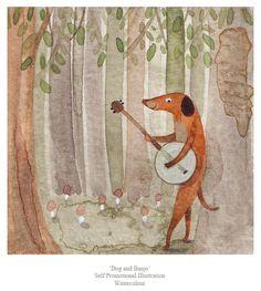 'dog and banjo' Watercolour