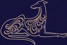 I made this kind of linear-Deco-ish hound drawing to donate to my greyhound rescue group to be raffled