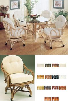 Captiva rattan dining set with tilt and swivel dining chairs available in fourteen different stains. Swivel Dining Chairs, Wicker Furniture, Tilt, Dining Set, Rattan, Kitchen Ideas, Accent Chairs, Kitchens, Stains