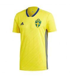 Sweden Home 2018 Football Kit – Football Shirt + Football Shorts Maillot de Foot New Football Shirts, Football Shirt Printing, Kids Football Kits, Adidas Football, Soccer Jerseys, Team Shirts, Football Team, Adidas Brand, Adidas Men
