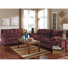 With the comfort of plush padded arms and thick divided back cushioning surrounded within a soft upholstery fabric, the Julson Burgundy Living Room Set by Signature Design by Ashley Furniture beautifully combines style and comfort to create the perfect set for any living room decor.