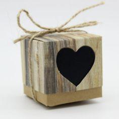 50pcs 5Cm Black Love Rustic Kraft Wedding Favor Gift Boxes With Rope Jute - Wedding Look