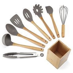NEXGADGET Premium Silicone Kitchen Utensils 9-Piece Cooking Utensils Set with Bamboo Wood Handles for Nonstick Cookware, Utensils Holder Included. For product & price info go to:  https://all4hiking.com/products/nexgadget-premium-silicone-kitchen-utensils-9-piece-cooking-utensils-set-with-bamboo-wood-handles-for-nonstick-cookware-utensils-holder-included/