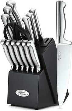 Buy Marco Almond Knife Set, 14 Pieces Japanese High Carbon Stainless Steel Cutlery Kitchen Knife Set Hardwood Block, Hollow Handle Self Sharpening Knife Block Set, Black, Best Gift online - Nicetopnice Best Kitchen Knife Set, Best Kitchen Knives, Kitchen Gadgets, Knife Block Set, Knife Sets, Stainless Steel Knife Set, Bath Bomb Sets, Japanese Home Decor, Types Of Knives