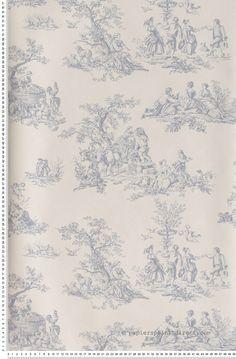Toile de Jouy bleue - Papier peint Lutèce