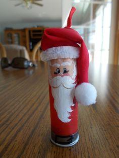 ONE SHOTGUN SHELL Santa ornament HAND PAINTED! hunter redneck STOCKING STUFFER!