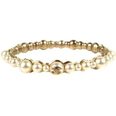 Pre-Owned Chanel Bracelet - Pearl Bangle Act II 2013 Cuff White CC... ($499) ❤ liked on Polyvore featuring jewelry, bracelets, gold, cuff bangle bracelet, pearl bangle bracelet, gold bangle bracelet, hinged bracelet and bangle bracelet