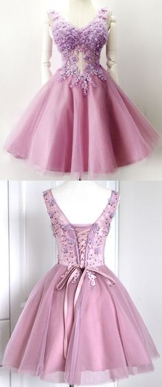 Ball Gown Homecoming Dress, V-neck Homecoming Gown,Pink Homecoming Dress, Short  Homecoming Dress, Flower Homecoming Dresses, Short Prom Dresses
