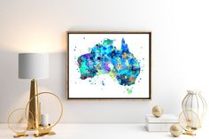 Australia Watercolor Map 2 Art Print Poster Wall by ZuzisStudio