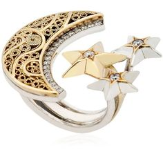 Azza Fahmy Women Crescent Moon & Stars Ring (5 885 AUD) ❤ liked on Polyvore featuring jewelry, rings, accessories, gold, azza fahmy, star ring and star jewelry